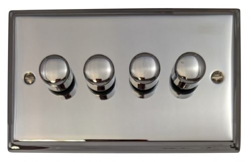 G&H DC14 Deco Plate Polished Chrome 4 Gang 1 or 2 Way 40-400W Dimmer Switch
